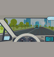 self driving car inside view vector image vector image