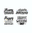 set happy wedding anniversary day hand drawn vector image