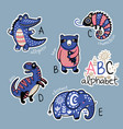 set of cute patch badges with animals alphabet a vector image