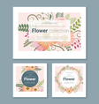 Set of invitation cards with colorful flowers 2 vector image