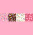 set seamless patterns donut glaze vector image