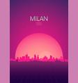 travel poster futuristic retro skyline milan vector image vector image