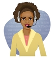 Young African American woman a call operator eps10 vector image