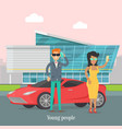 young rich people standing near the luxury car vector image vector image