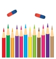 set of colored pencils with erasers vector image