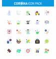 25 flat color set corona virus epidemic icons vector image vector image