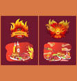 barbecue grill party emblems in flame and food vector image vector image