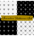 black and white abstract seamless patterns set vector image vector image