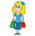 blond shopping girl vector image