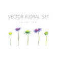 bright watercolor set of flowers with leaf vector image vector image