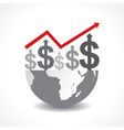 Business graph of dollar symbols on earth vector image