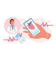 call doctor cardiology medicine hand holding vector image vector image