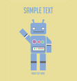 cartoon character vintage cute blue robot vector image vector image