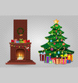 cartoon christmas set of decorated burning vector image vector image