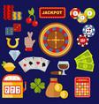 casino gambler game icons poker symbols and vector image vector image