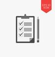 Checklist with pencil icon Flat design gray color vector image