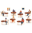 collection cute people sitting at tables vector image vector image