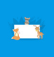 cute forest animals holding empty banner fox vector image vector image