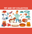 dog cat pet stuff and supply set vector image vector image