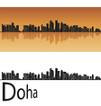 Doha skyline in orange background vector image