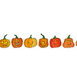 endless brush of cute halloween pumpkins autumn vector image vector image