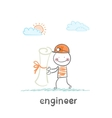engineer holding a paper vector image