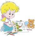 girl drawing a funny summer picture vector image