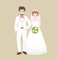 groom walk arm in arm with bridge vector image vector image