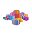 Group of bright colorful wrapped gift boxes on vector image vector image