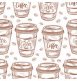 hand drawn coffee cups seamless pattern colorful vector image vector image