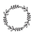 hand drawn wreath floral design vector image vector image