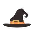 happy halloween witch hat with orange strap trick vector image vector image
