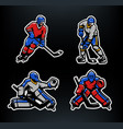 hockey players and goalkeepers set vector image vector image