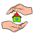 house in hands icon cartoon vector image