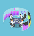 isometric business team in conference event with vector image vector image