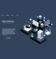 isometric server room and big data processing vector image vector image