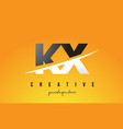 kx k x letter modern logo design with yellow vector image vector image