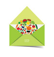 letter envelope with fruit and vegetable vector image