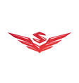 logo with wings and letter s flat logo sign vector image