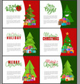 merry christmas invitations templates xmas trees vector image vector image