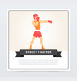 muscular boxer in gloves and helmet street vector image