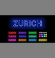 neon name of zurich city vector image