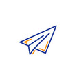 paper plane line icon airplane flight transport vector image