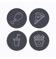 Pizza pizza and soft drink icons vector image vector image