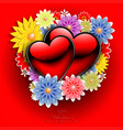 red background with flowers and with silhouettes vector image vector image