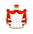 Royal red velvet mantle with golden crown vector image