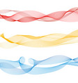 set abstract colorful smooth wave lines red vector image