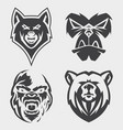 set animal head icon symbol for element vector image