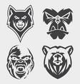 set animal head icon symbol for element vector image