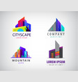 set of modern city logos business building vector image